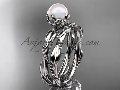Unique Pearl Engagement Ring Set - Platinum Weding Set AP178S