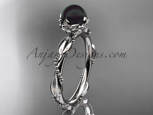 Black Pearl Engagement Rings - White Gold Pearl Ring ABP178