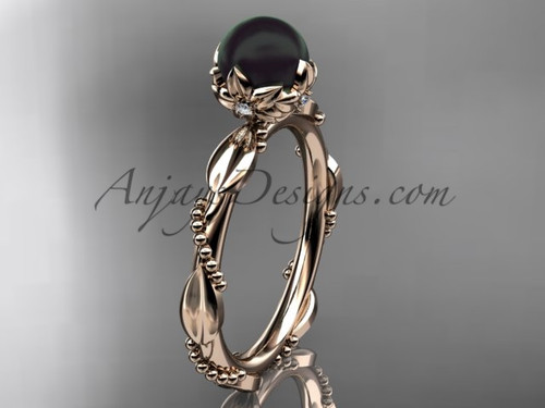 Black Pearl Engagement Rings - Rose Gold Pearl Ring ABP178