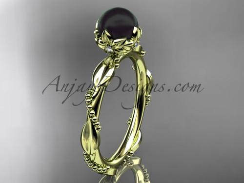 Black Pearl Engagement Rings - Yellow Gold Pearl Ring ABP178