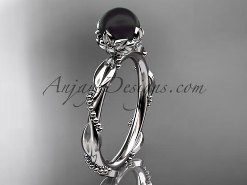Black Pearl Engagement Rings - Platinum Pearl Ring ABP178