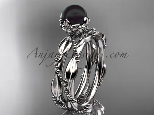 Black Pearl Engagement Ring Set - White Gold Set ABP178S