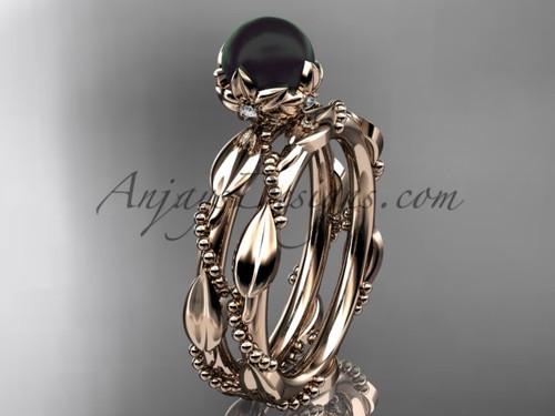 Black Pearl Engagement Ring Set - Rose Gold Set ABP178S
