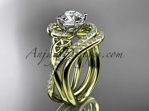 Wedding Ring Sets Yellow Gold Celtic Moissanite Ring CT7320S