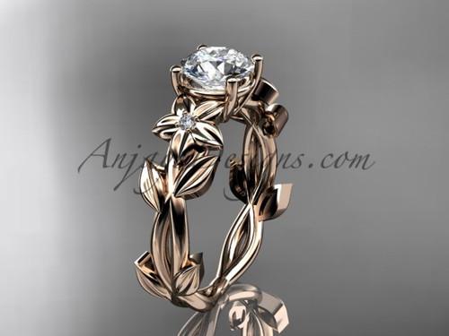 Floral Engagement Rings 14kt rose gold modern engagement ring ADLR424