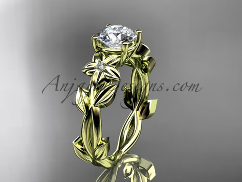 Floral Engagement Rings - Yellow Gold Wedding Ring ADLR424