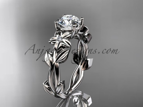 Floral Engagement Rings - Platinum Wedding Ring ADLR424