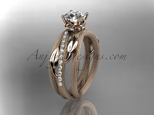 """14kt rose gold diamond leaf and vine wedding ring,engagement ring with a """"Forever One"""" Moissanite center stone ADLR329"""