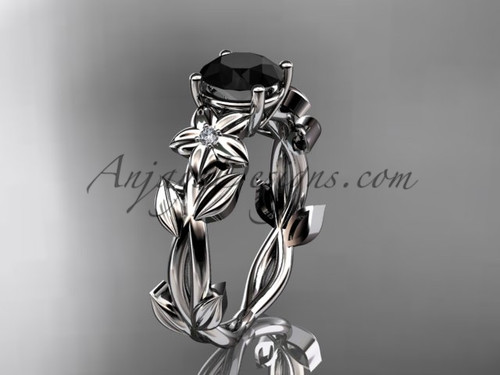 Black Diamond Engagement Rings -White Gold Wedding Ring ADLR424