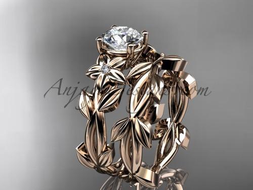 Moissanite Wedding Sets - Rose  Gold Wedding Set ADLR424S