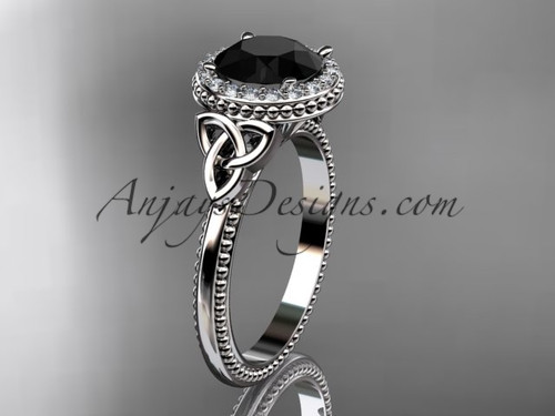 14kt white gold diamond celtic trinity knot wedding ring, engagement ring with a Black Diamond center stone CT7157