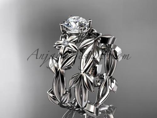 Moissanite Bridal Sets - Platinum Wedding Set ADLR424S