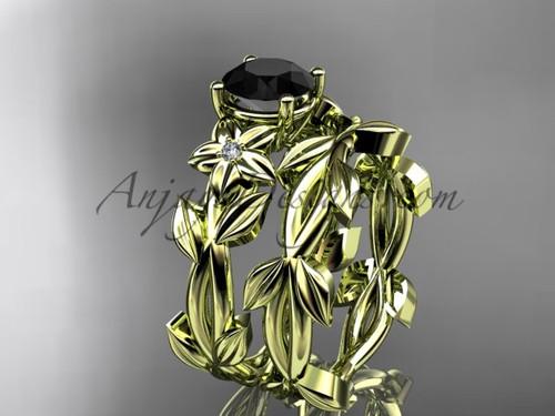 Black Diamond Bridal Sets - Yellow Gold Wedding Set ADLR424S