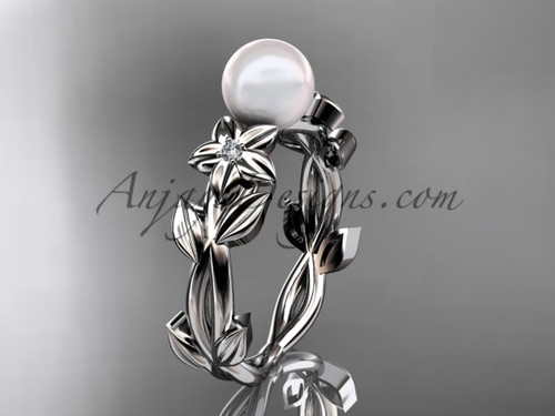 Pearl Engagement Rings -White Gold Flower Ring AP424