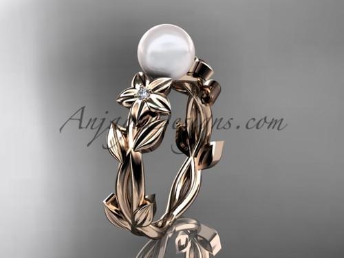 Pearl Engagement Rings -Rose Gold Flower Ring AP424