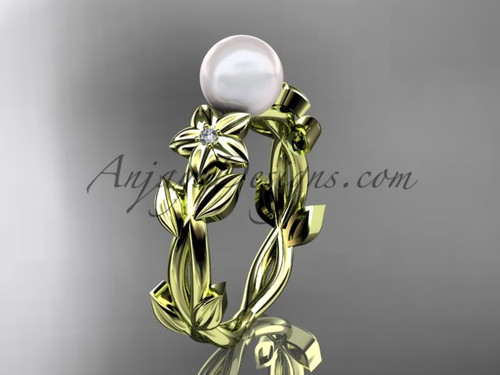 Pearl Engagement Rings -Yellow Gold Flower Ring AP424