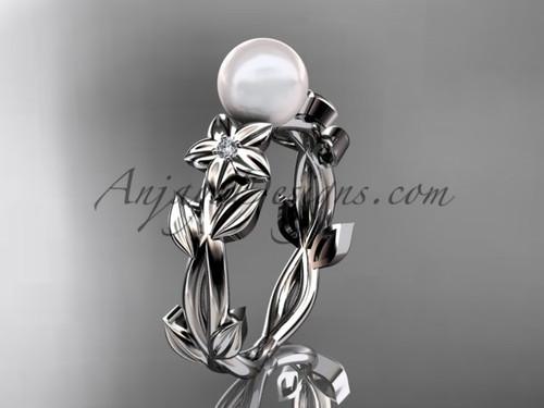 Pearl Engagement Rings -Platinum Flower Ring AP424