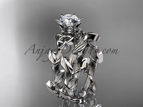 14kt white gold diamond celtic trinity knot wedding ring, engagement set CT7248S