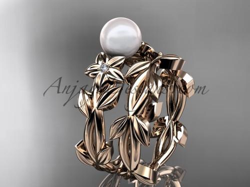 Pearl Wedding Sets - Rose Gold Flower Ring AP424S
