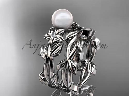 Pearl Wedding Sets - Platinum Flower Ring AP424S