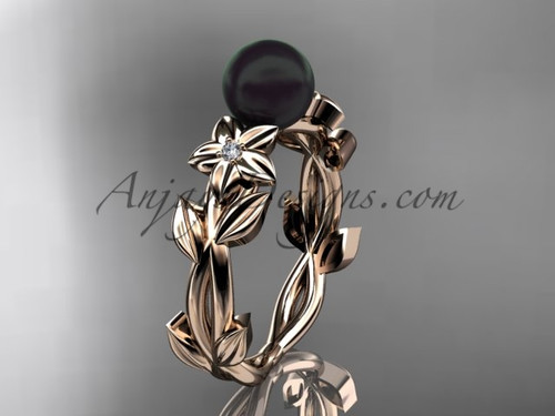 Black Pearl and Diamond Engagement Rings Rose Gold ABP424