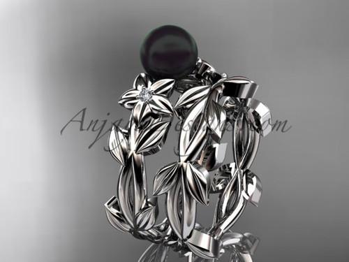 Platinum Tahitian Black Pearl Wedding Ring Sets ABP424S