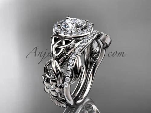 Celtic Wedding Ring Sets White Gold Moissanite Ring CT7300S