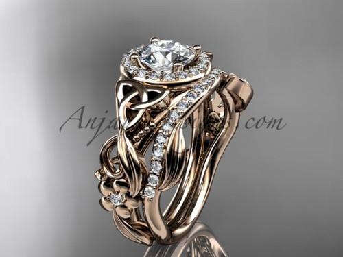 Celtic Wedding Ring Sets Rose Gold Moissanite Ring CT7300S