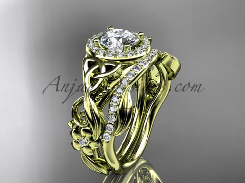Celtic Wedding Ring Sets Yellow Gold Moissanite Ring CT7300S