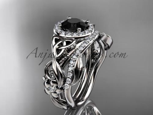Black Diamond Celtic Wedding Ring Sets White Gold Ring CT7300S