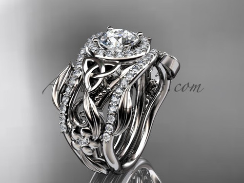Celtic Two Band Engagement Ring for Women White Gold CT7300S