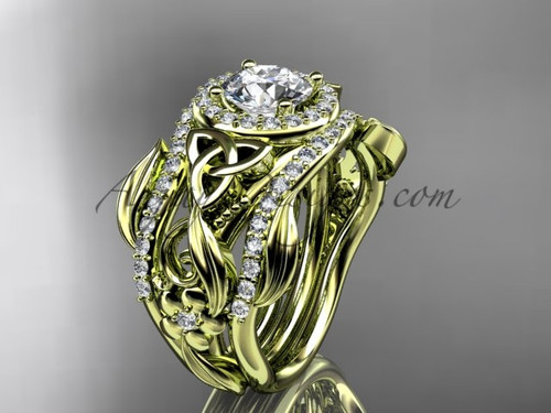 Celtic Two Band Engagement Ring for Her Yellow Gold CT7300S