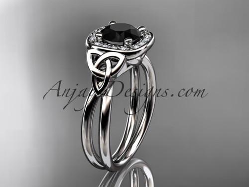 platinum black diamond celtic engagement ring CT7330