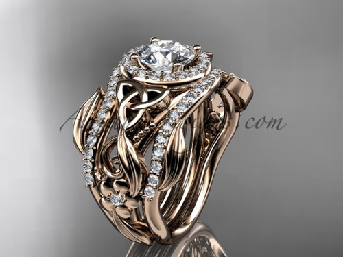 Moissanite Two Band Engagement Ring Rose Gold CT7300S