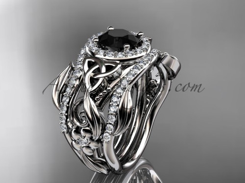 Double Band Black Diamond Ring 14kt White Gold Ring CT7300S