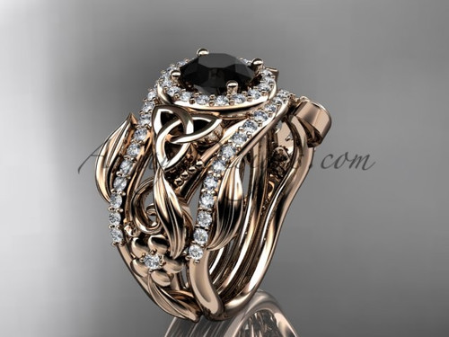 Double Band Black Diamond Ring 14kt Rose Gold Ring CT7300S
