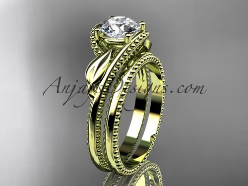 Leaf Wedding Ring Set Yellow Gold Engagement Ring ADLR322S