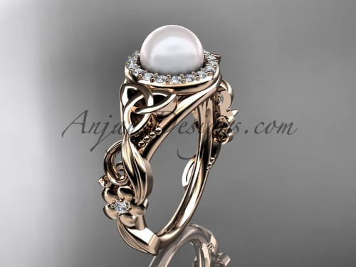 Pearl and Diamond Rings Rose Gold Celtic Engagement Ring CTP7300