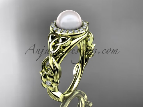 Halo Pearl Diamond Rings Yellow Gold Celtic Engagement ring CTP7300