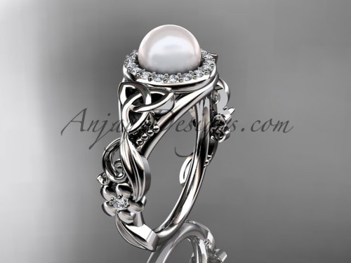 Halo Diamond Pearl  Rings Platinum Celtic engagement ring CTP7300