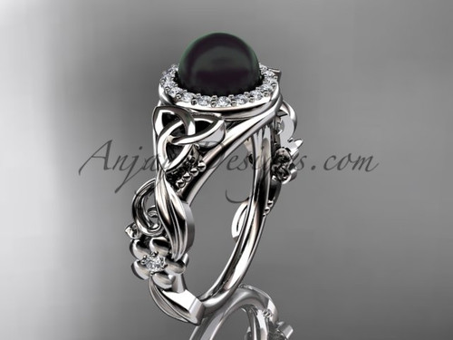 Celtic Halo Black Pearl Platinum Wedding Ring CTBP7300
