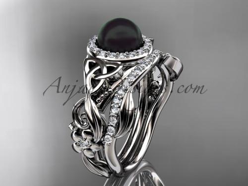 Platinum Halo Black Pearl Wedding Ring Set CTBP7300S
