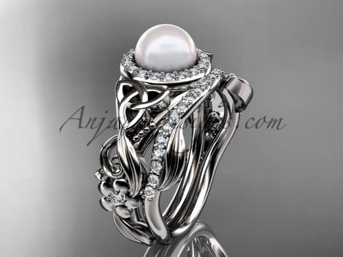 White Gold Pearl Wedding Set Triquetra Bridal Ring CTBP7300S