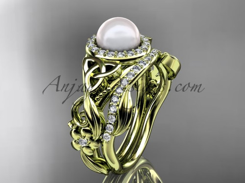 Yellow Gold Pearl Wedding Set Celtic Bridal Ring CTBP7300S