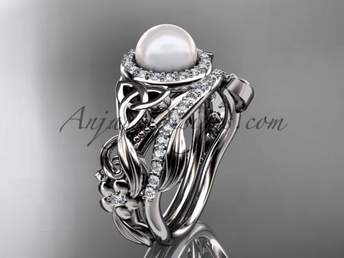 Platinum Pearl Wedding Set Triquetra Bridal Ring CTBP7300S