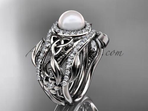 Triquetra Celtic Pearl Double Band Wedding Ring White Gold Set CTBP7300S