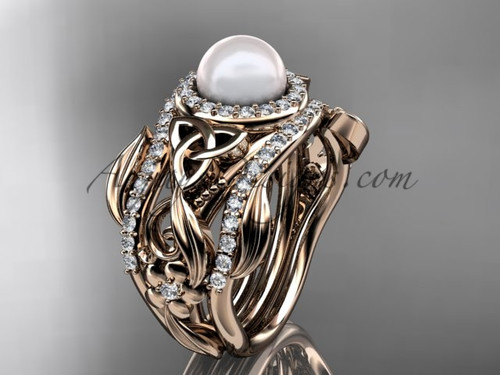 Triquetra Celtic Pearl Double Band Engagement Ring Rose Gold Wedding Set CTBP7300S