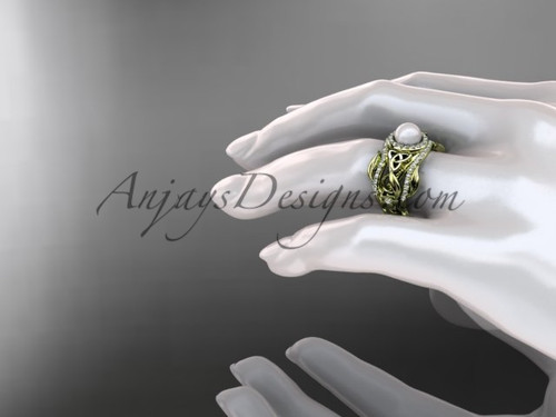 Double Band Pearl Halo Engagement Rings 14kt Yellow Gold Triquetra Celtic Bridal Ring Set CTP7300S