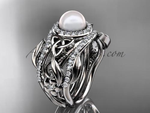 Triquetra Celtic Pearl Double Band Engagement Ring Platinum Wedding Set CTBP7300S