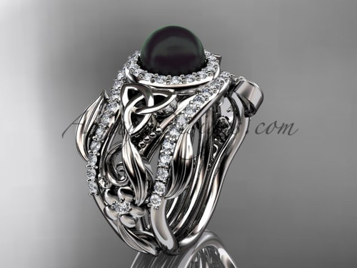 Black Pearl Double Band Wedding Ring, Triquetra White Gold Bridal Set, Flower Engagement Ring CTBP7300S